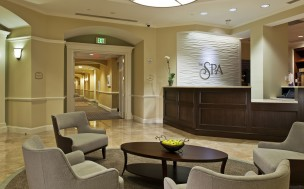 The beautiful lobby of the spa at the Ballantyne Hotel
