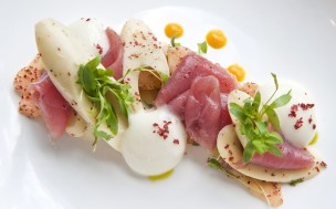 A featured dish of tuna crudo served at the Gallery Restaurant at the Ballantyne Hotel