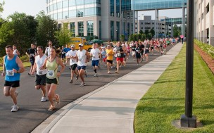 Runners from one of the 5km YMCA events that took place in the Ballantyne village