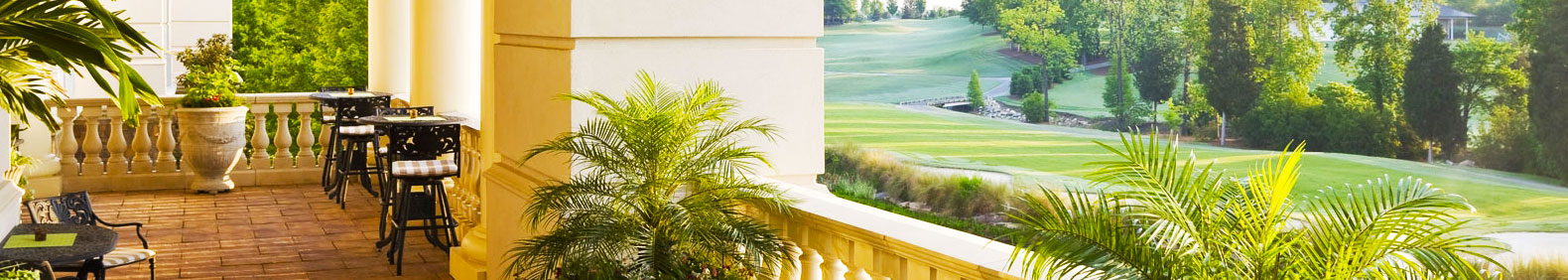 The beautiful porch that guests enjoy at the Ballantyne Hotel