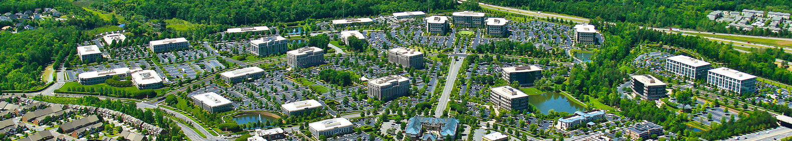 An aerial shot of the Ballantyne village and community